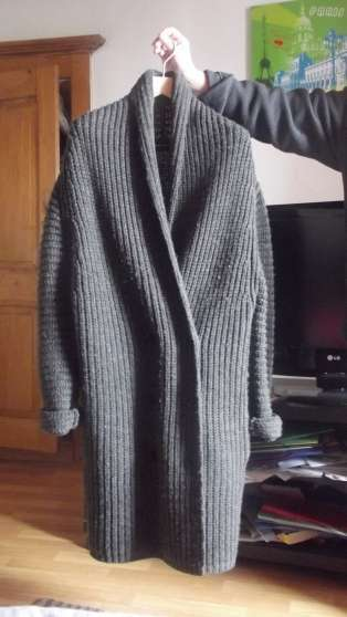 Manteau laine grosse maille femme
