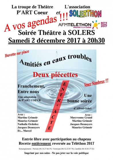 soirée théâtre au profit du téléthon - Annonce gratuite marche.fr