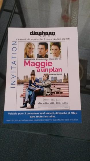 """Petite Annonce : 2 places de cinéma - Invitation deux places de cinéma pour \"""" Maggie a un plan \"""" de"""