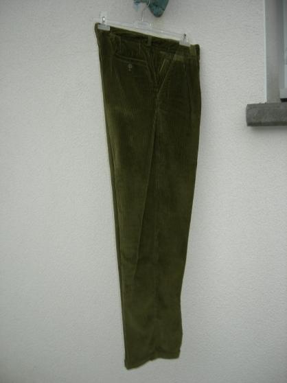 pantalon velours kaki avec revers