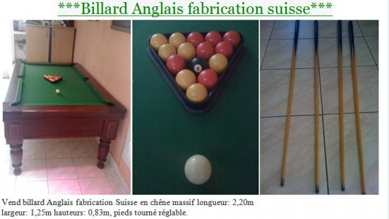 Annonce occasion, vente ou achat 'BILLARD ANGLAIS FABRICATION SUISSE'