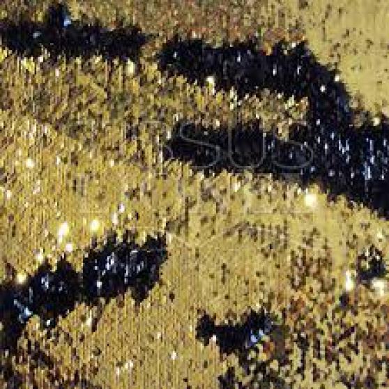 Tissu pailleté réversible noir et or