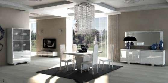 Salle a manger blanc laque moderne paris meubles for Meuble salle a manger paris