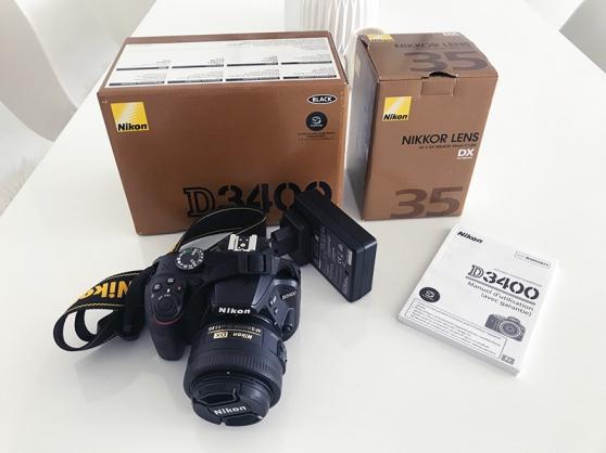 reflex nikon d3400 + objectif nikon 35mm - Annonce gratuite marche.fr