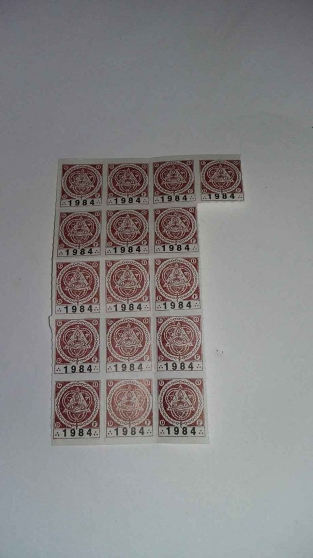Annonce occasion, vente ou achat '16 timbres d\'associés franc maçon 1984'