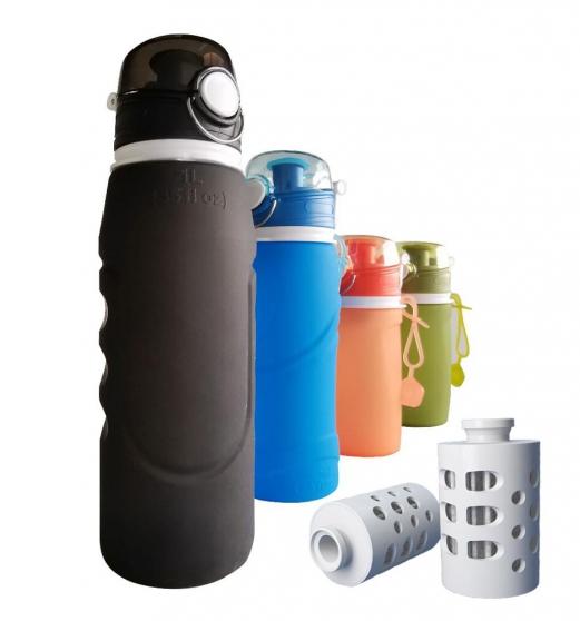 New folding portable water filter bottle