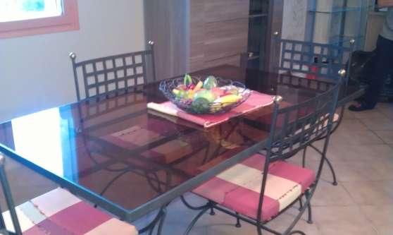 Table Salle A Manger Verre Et Fer Forge Meubles Decoration Poele