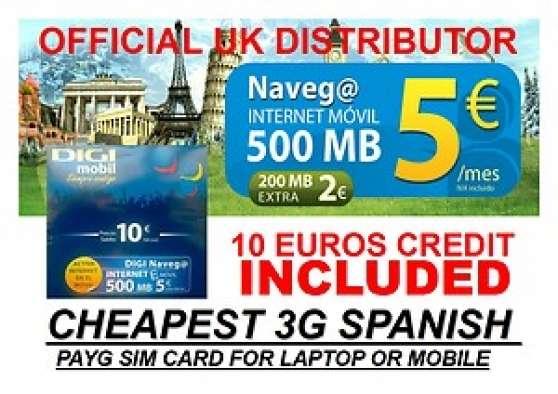 Spanish 3G SIM Prepaid.10 ¬ credit inc.