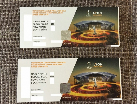 2 places Europa League Finale Lyon 2018