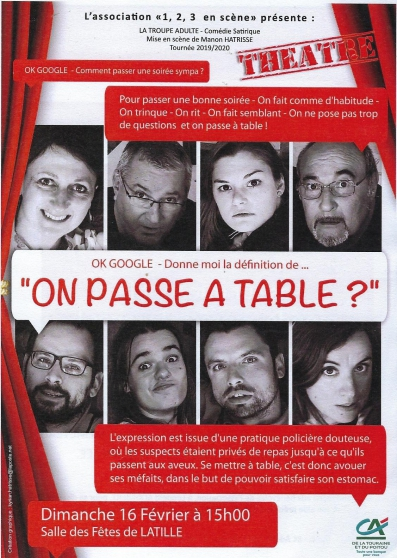 "théâtre "" on passe à table"""