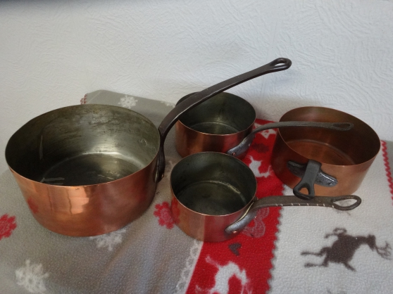 LOT DE QUATRE CASSEROLES CUIVRE - Photo 2