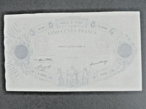 Annonce occasion, vente ou achat 'beau billet 500 f 1936 sup c 400€'