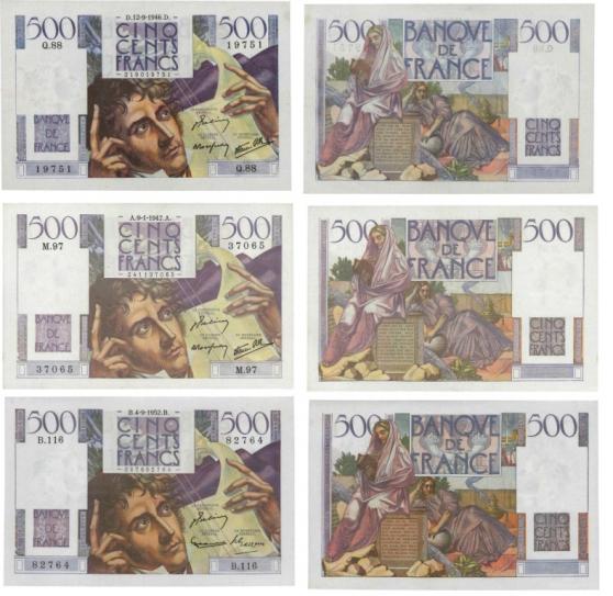 Annonce occasion, vente ou achat 'LOT DE 3 BILLETS 500 F CHATEAUBRIAND'