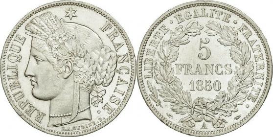 Annonce occasion, vente ou achat 'RARE MONNAIES 5 F CERES 1850A C 750 €'
