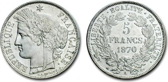 Annonce occasion, vente ou achat 'RARE MONNAIE 5 F CERES 1870A C 750€'