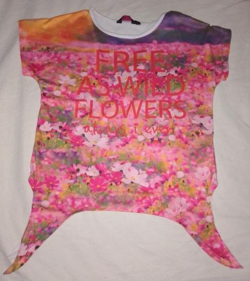 T-shirt motifs fleurs fille 8ans noeud - Photo 3