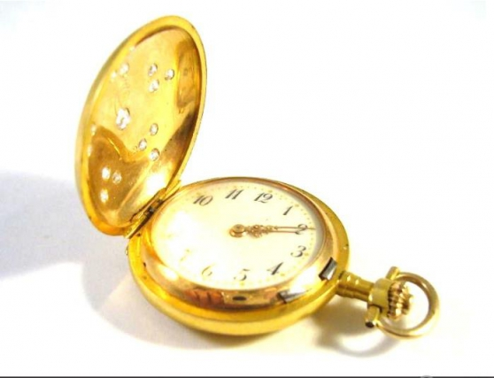 Antique gold pocket watch with diamonds