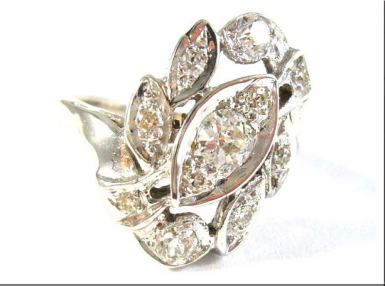 Antique ring with diamonds 0.62 kt - Photo 2