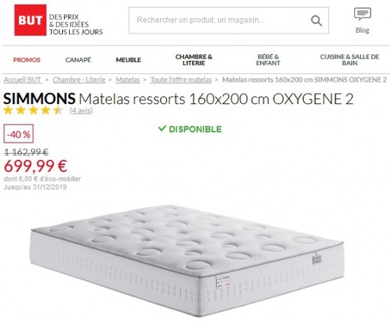 Annonce occasion, vente ou achat 'Vente 500€ Matelas NEUF Simmons 160x200'