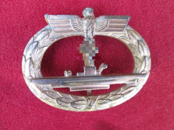 Annonce occasion, vente ou achat 'Rare badge sous marinier allemand U Boot'