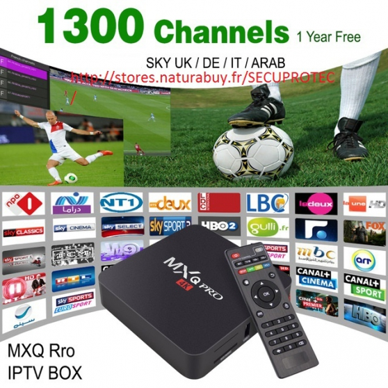 Box tv android MXQ PRO 1300 CHAINES iptv