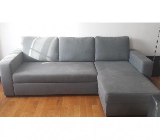 Canape reversible gris avec coffre paris meubles for Meuble contre canape