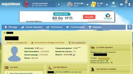 Annonce occasion, vente ou achat 'Compte Equideow : 50k pass, objets...'
