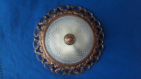 2 Plafonniers en verre et métal doré - Photo 2