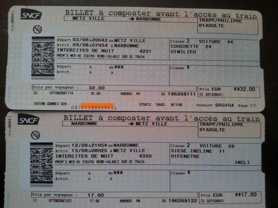 BILLETS TGV PREM'S METZ/NARBONNE