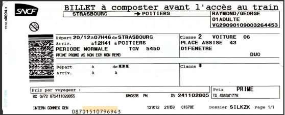 Vends billet Strasbourg-Poitiers 20 déc.