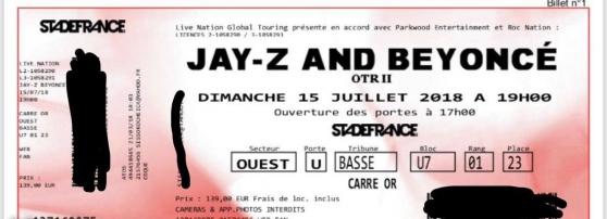 otr 2 jay-z/beyonce - Annonce gratuite marche.fr