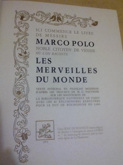 Annonce occasion, vente ou achat 'Marco Polo, les merveilles du monde uniq'