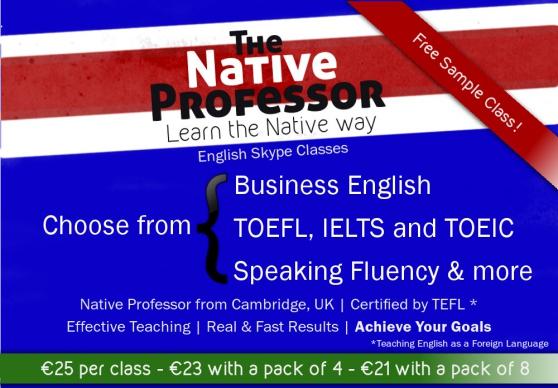 Annonce occasion, vente ou achat 'Leçon d'Anglais, Skype, Professeur natif'