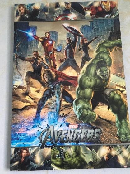 Affiche Avengers imprimée sur bloc bois