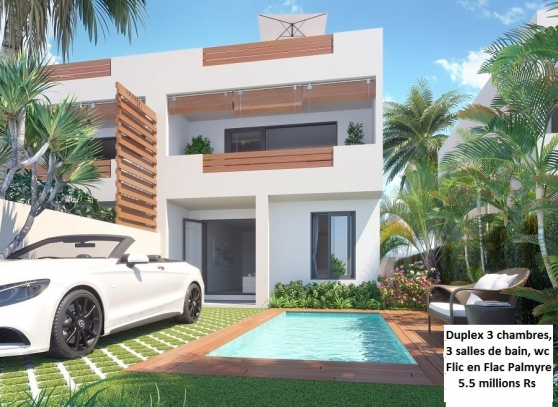 Duplex 3ch, piscine privée, Flic en Flac