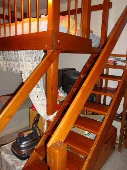 Lit mezzanine 2 places en bois c pet meubles for Lit mezzanine en bois 1 place