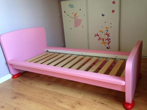 Petite Annonce : Ensemble de 2 lits enfants pour fille - Ensemble de 2 lits pour petites filles  couleur rose  Dimensions :