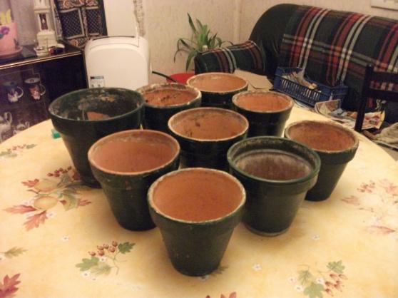 Petite Annonce : Lots de 9 pots de fleurs en terre cuite - Description Vend lot de 9 pots de fleurs en terre cuite ( 5 euros