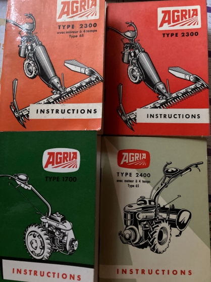 Annonce occasion, vente ou achat 'NOTICES D\'INSTRUCTIONS MOTOCULTEUR AGRIA'
