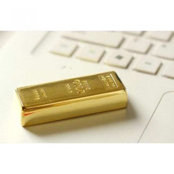 Clé USB neuve, style lingot d'or, 16 Go.
