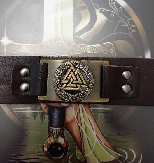 Bracelet Viking marron symbole Valknut. - Photo 2