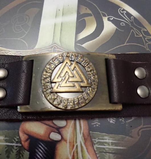 Bracelet Viking marron symbole Valknut. - Photo 3