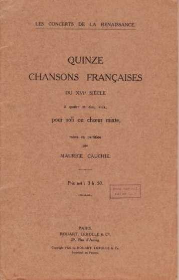 Quinze chansons françaises du XVI ème si