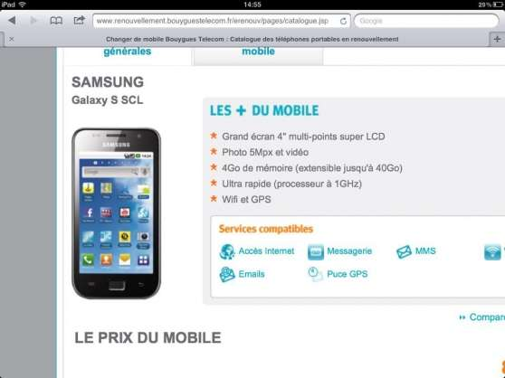 Annonce occasion, vente ou achat 'Samsung galaxie s'