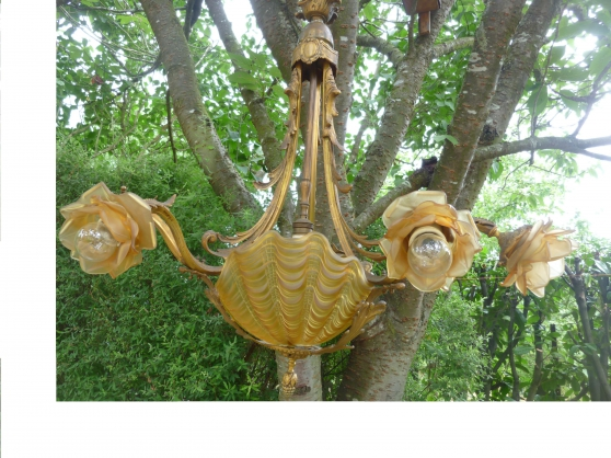 lustre art déco bronze doré