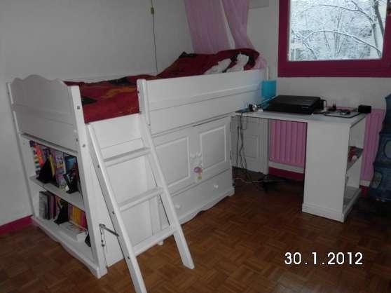Lit combine bureau commode tag res lyon meubles for Meuble bureau lyon