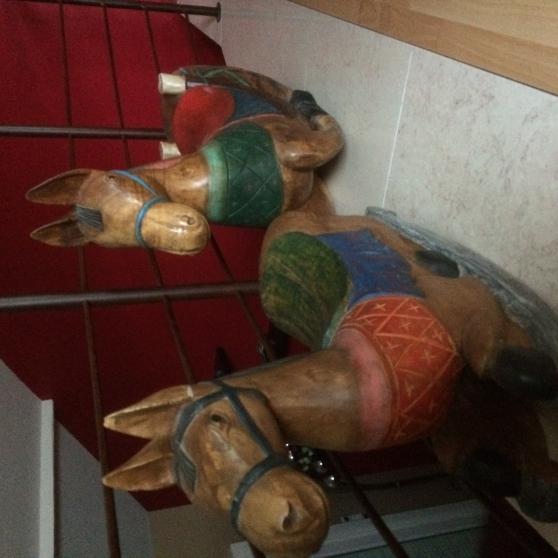 2 chevaux chinois bois peint