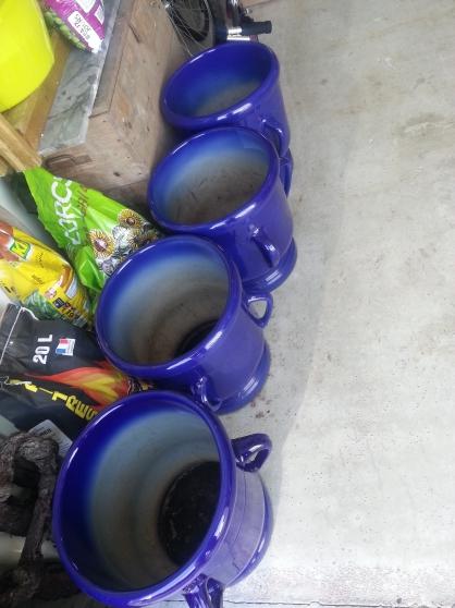 Pot céramique Sarreguemine Bleu Roy
