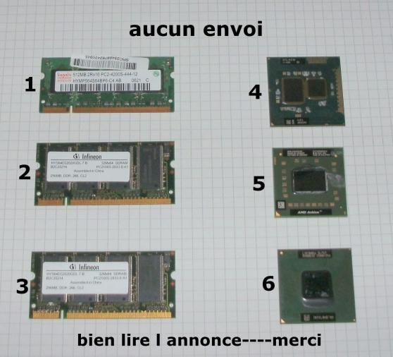 occasion memoires et processeurs pc.