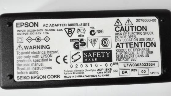 AC Adapter Epson Original Modèle A181E
